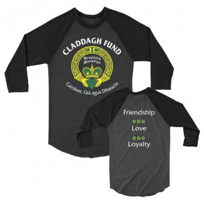 claddagh-fund - Classic Raglan (Heather Charcoal/Black)