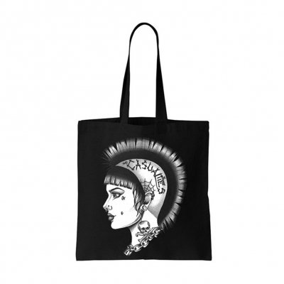 Mohawk Girl Tote Bag (Black)