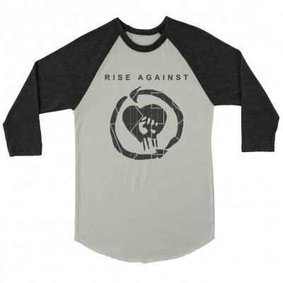 rise-against - TGNS HeartFist Raglan (Natural/Heather Black)