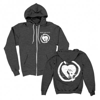 rise-against - HeartFist Zip Hood (Heather Charcoal)