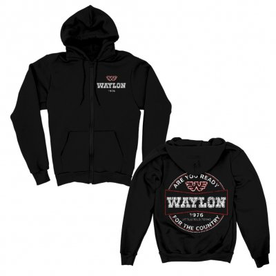 waylon-jennings - Are you Ready Zip Up Hoodie (Black)