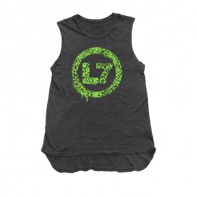 l7 - Leopard Spray Logo Womens Tank (Black Heather)