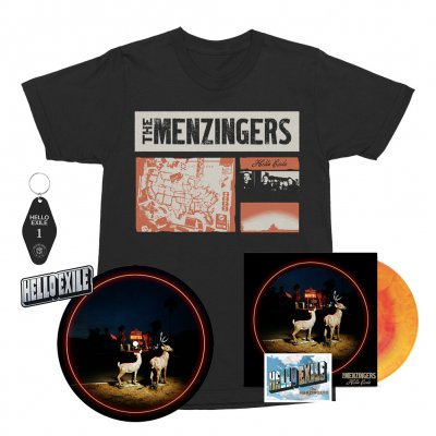 the-menzingers - Hello Exile LP (Sunburst) + Flexi + Collage Tee (Black) + Keychain + Pin + Slipmat Bundle