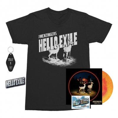 the-menzingers - Hello Exile LP (Sunburst) + Flexi + Postcard Tee (Black) + Keychain + Pin Bundle