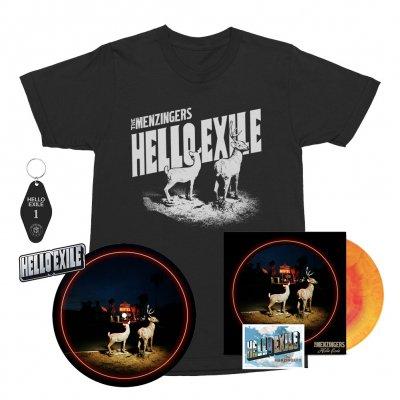 the-menzingers - Hello Exile LP (Sunburst) + Flexi + Postcard Tee (Black) + Keychain + Pin + Slipmat Bundle