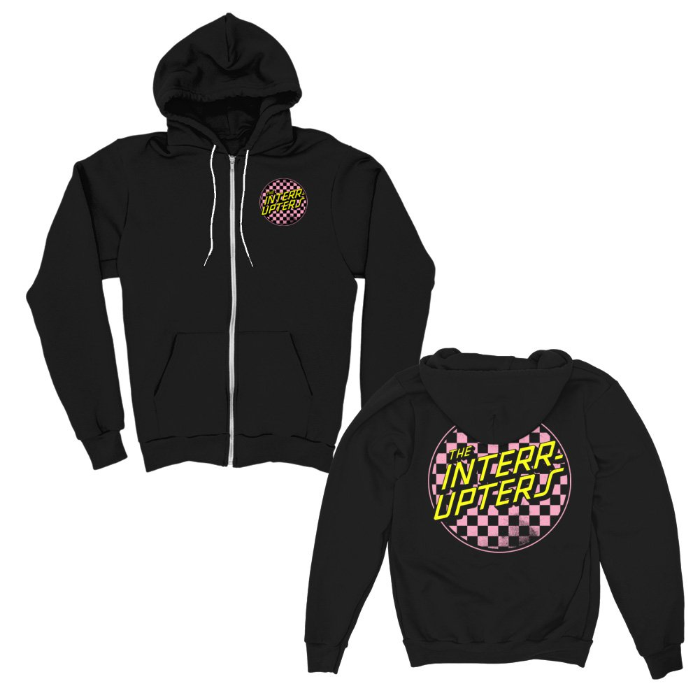 IMAGE | Checkered Zip Up Hoodie (Black)
