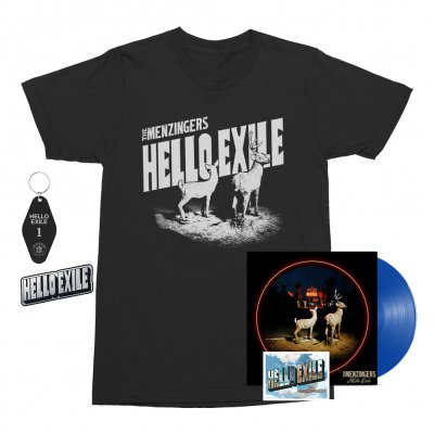 the-menzingers - Hello Exile LP (Blue) + Flexi + Postcard Tee (Black) + Keychain + Pin Bundle