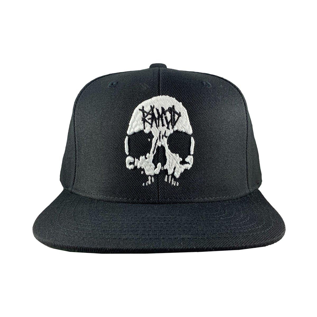 Skull Embroidered Snapback Hat (Black)