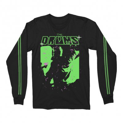 the-drums - Neon Green Jonny Vintage Long Sleeve (Black)
