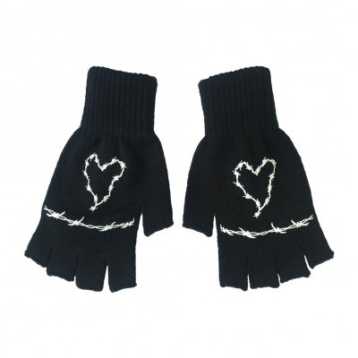 frank-iero - Barbed Wire Fingerless Gloves (Black)