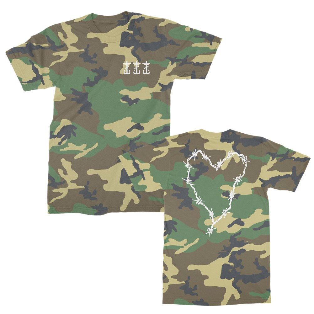 IMAGE | Barbed Wire Heart & Cross T-Shirt (Woodland Camo)