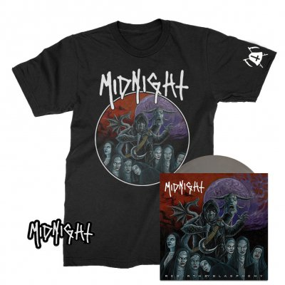 "midnight - Rebirth By Blasphemy 7"" (Import) + Tee + Patch Bundle"