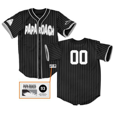 papa-roach - Pinstripe Baseball Jersey (Black)