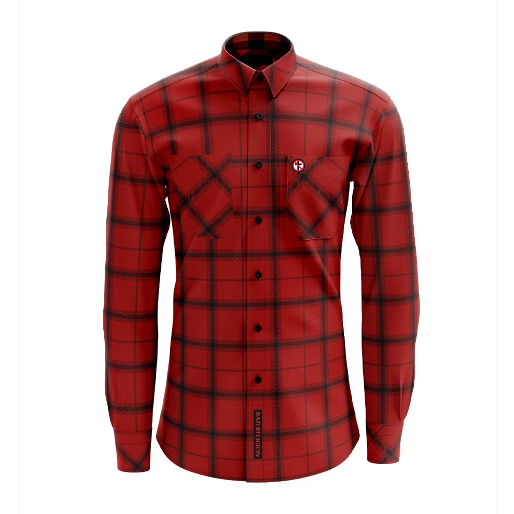 Embroidered Crossbuster Plaid Flannel (Red)