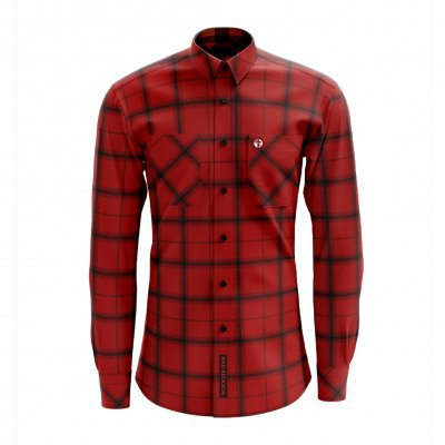 bad-religion - Embroidered Crossbuster Plaid Flannel (Red)