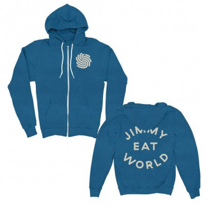 Applique Surviving Emblem Zip Up Hoodie (Blue)