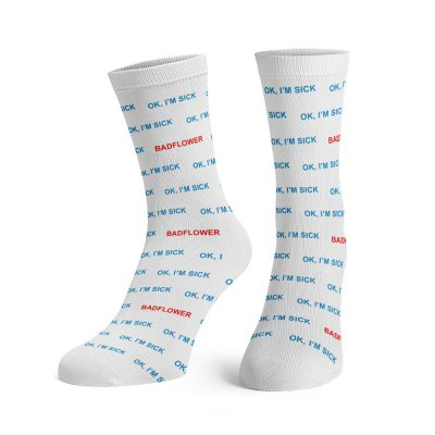 badflower - OK I'm Sick Dress Socks (White)