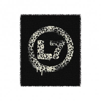 Leopard Spray Logo Throw Blanket (Black)