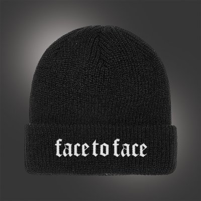 face-to-face - Embroidered Crown Logo Beanie (Black)