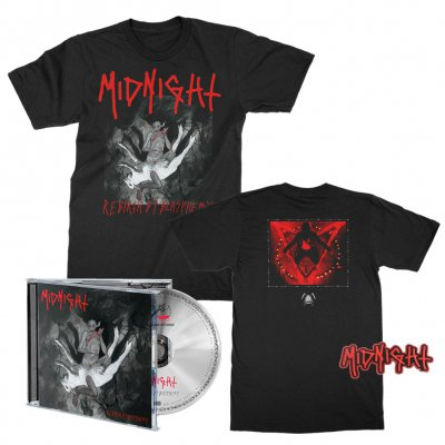 midnight - Rebirth By Blasphemy CD + Album Tee (Black) + Patch Bundle