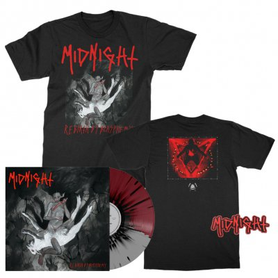 midnight - Rebirth By Blasphemy LP (Grey/Oxblood/Black) + Album T-Shirt (Black) + Patch Bundle