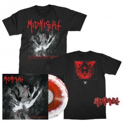 midnight - Rebirth By Blasphemy LP (Red/White) + Album T-Shirt (Black) + Patch Bundle