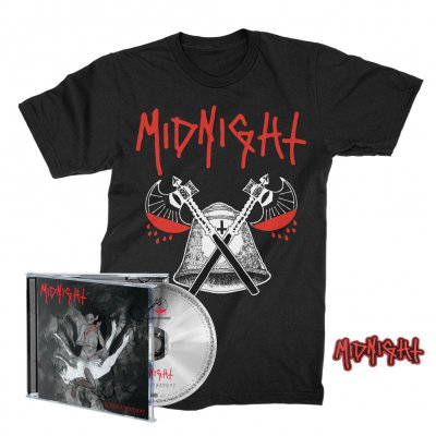 midnight - Rebirth By Blasphemy CD + Blood Axe T-Shirt (Black) + Patch Bundle