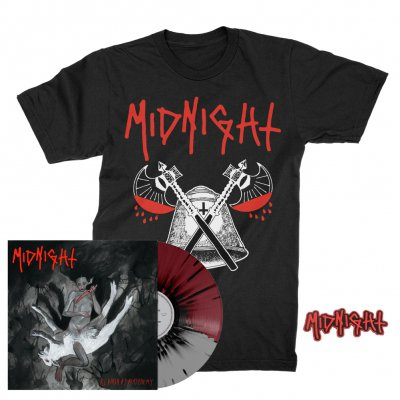 midnight - Rebirth By Blasphemy LP (Grey/Oxblood/Black) + Blood Axe T-Shirt (Black) + Patch Bundle