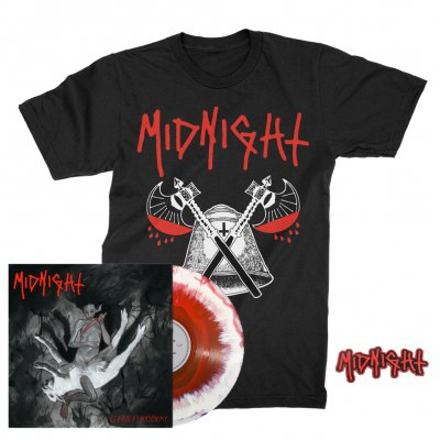 midnight - Rebirth By Blasphemy LP (Red/White) + Blood Axe T-Shirt (Black) + Patch Bundle