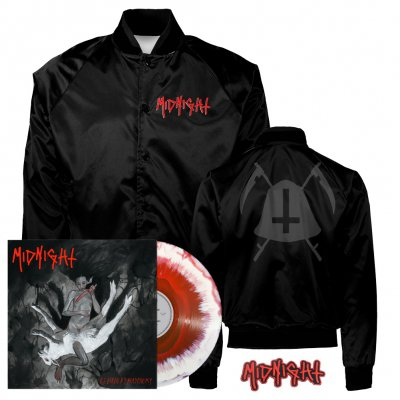 midnight - Rebirth By Blasphemy LP (Red/White) + Bell Satin Jacket (Black) + Patch Bundle