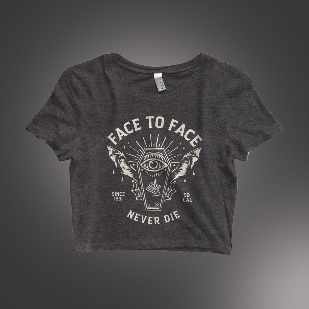 IMAGE | Coffin Women's Crop T-Shirt (Dark Heather Grey)