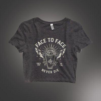 face-to-face - Coffin Women's Crop Tee (Dark Heather Grey)