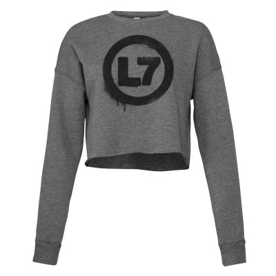 l7 - Drip Logo Women's Cropped Crew Neck (Heather Grey)