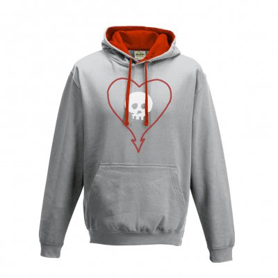 alkaline-trio - Heart Skull Pullover Hood (Heather Grey)
