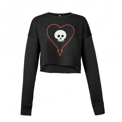 alkaline-trio - Heart Skull Women's Crop Sweatshirt (Black)