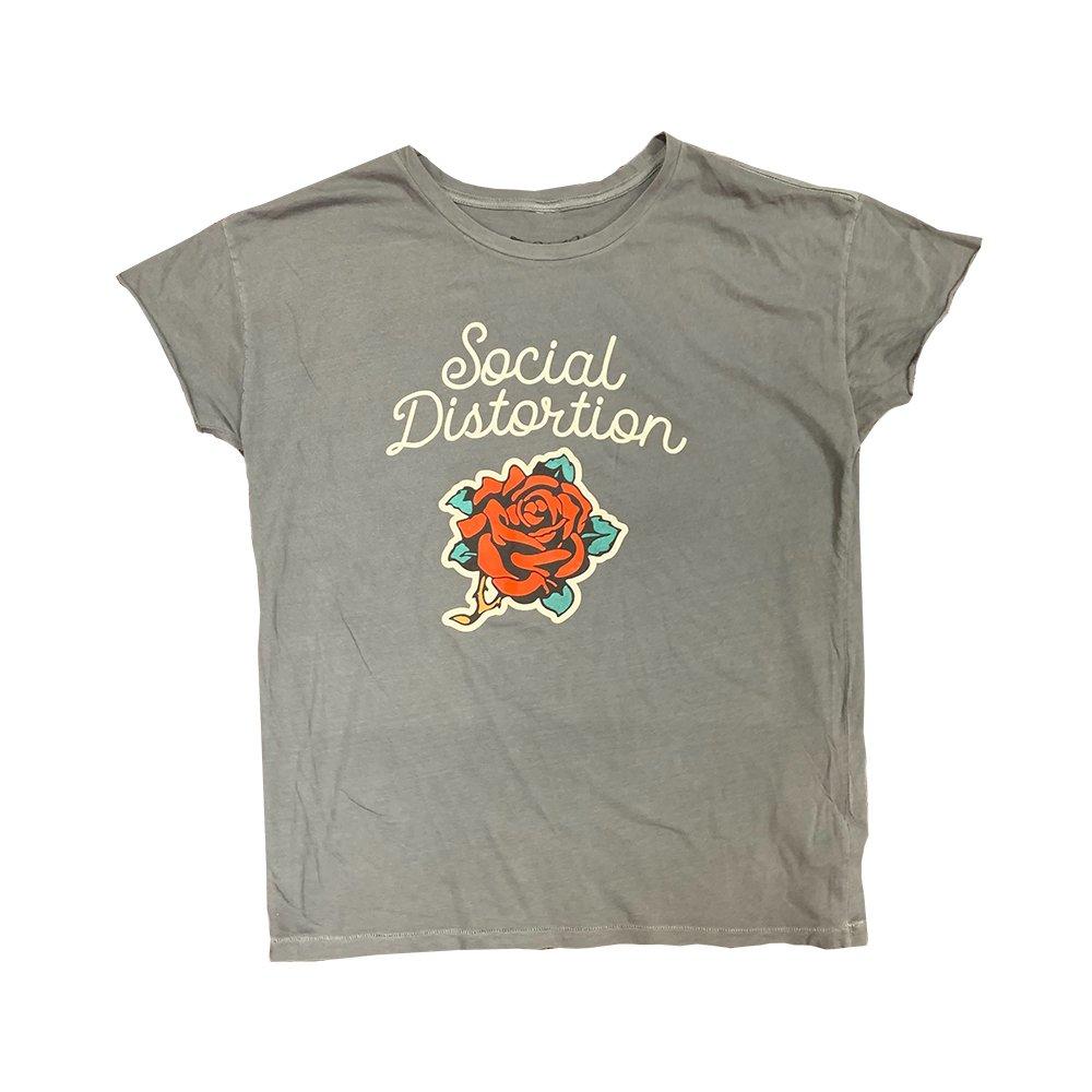 IMAGE | Cursive Rose Juniors T-Shirt (Heather Grey)