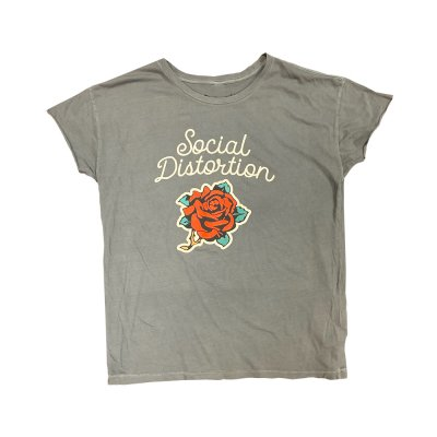 Cursive Rose Juniors T-Shirt (Heather Grey)