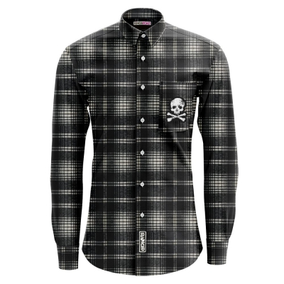 D-Skull Flannel (Black Ombre)