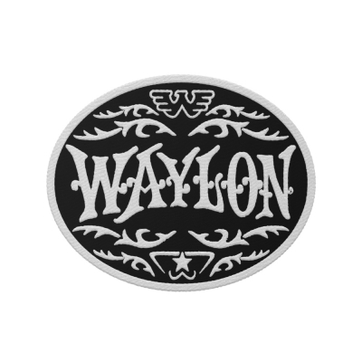 waylon-jennings - Monogram White Embroidered Patch
