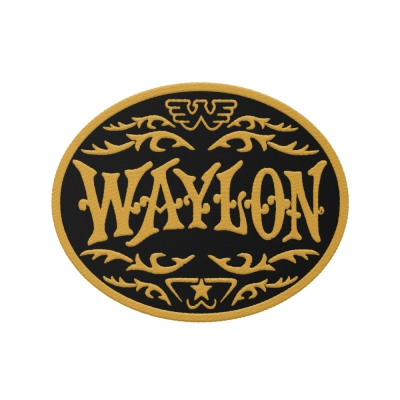 waylon-jennings - Monogram Yellow Embroidered Patch (Yellow/Black)