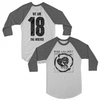 rise-against - Square Logo Raglan (Heather Grey)