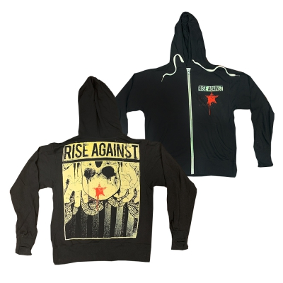 rise-against - Red Star Zip Hoodie (Black)
