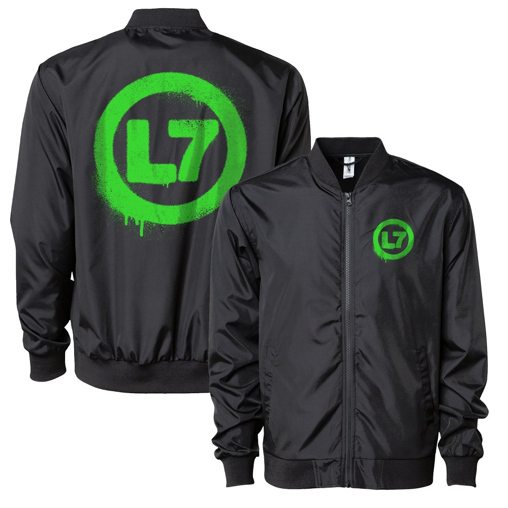 IMAGE | Neon Green Spray Logo Bomber Jacket (Black)