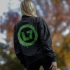 IMAGE | Neon Green Spray Logo Bomber Jacket (Black) - detail 3