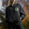 IMAGE | Neon Green Spray Logo Bomber Jacket (Black) - detail 2