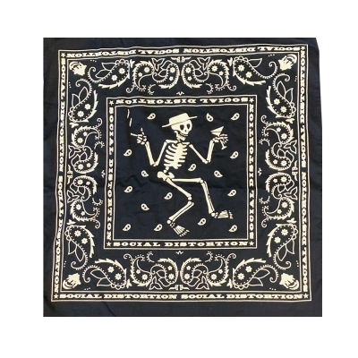 social-distortion - Navy/White Skelly Paisley Bandana