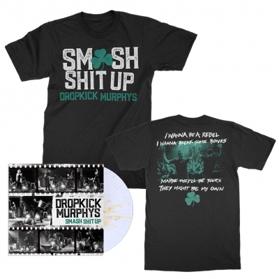"dropkick-murphys - Smash Shit Up 12"" (White/Gold) + Tee (Black) Bundle"