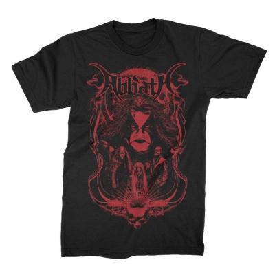 Skull Band Photo Red Print T-Shirt (Black)
