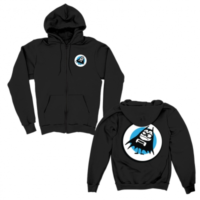 Blue Dot Zip-Up Light-Weight Hoodie (Black)