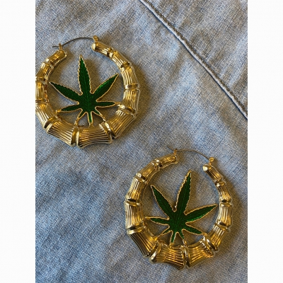 Cannabis Hoop Earrings